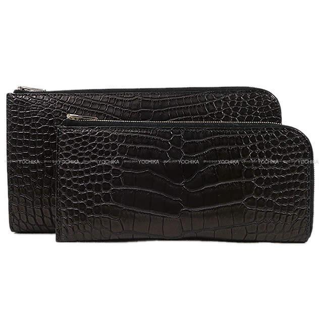 HERMES エルメス ツイスト財布 トラベルケース リミックス ボヤージュ 黒(ブラック) クロコダイル