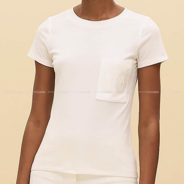HERMES エルメス Tシャツ ポケット付 刺繍 #36 白(ホワイト) コットン100% 新品未使用