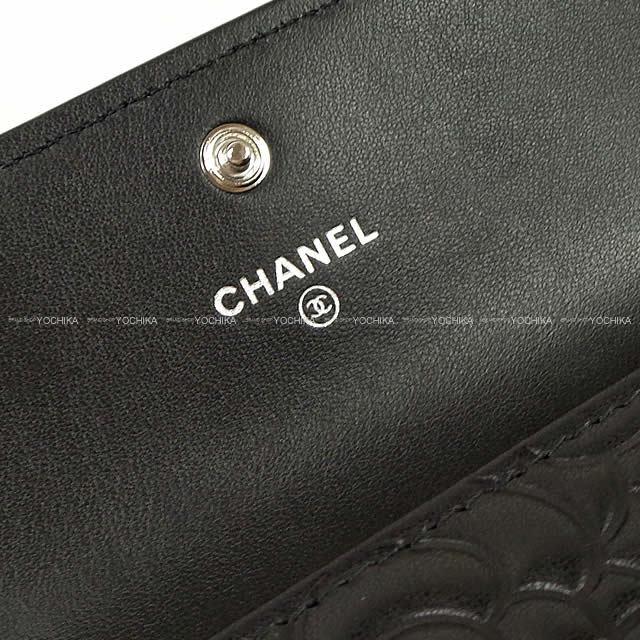 6abc329351c9 ... CHANEL シャネル カメリア エンボス フラップ 長財布 黒(ブラック) ラムスキン A82283 新品. 写真をクリックすると拡大します