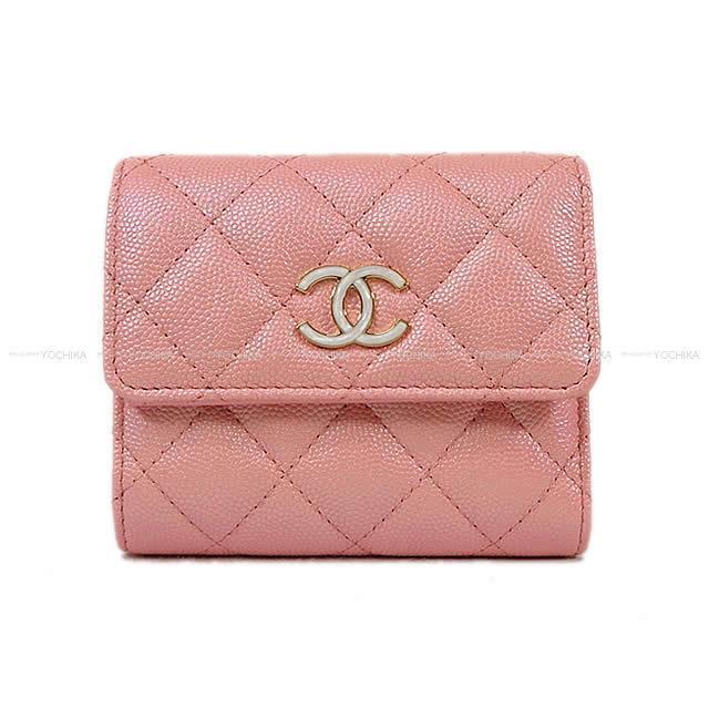 CHANEL シャネル マトラッセ スモール フラップ 三つ折 コンパクト 財布 ピンク ラムスキン AP0309 新品