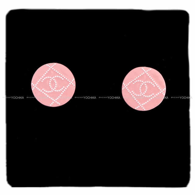 CHANEL シャネル マトラッセ ドット ココマーク サークル ピアス ピンク/白(ホワイト) ゴールド金具 AB1068 新品