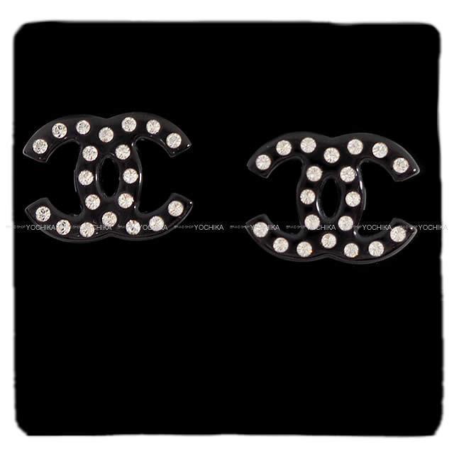 CHANEL シャネル キュービック ココマーク ラインストーン ピアス 黒 AB1732 新品