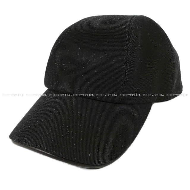 """HERMES エルメス メンズ キャップ 帽子 セリエボタン付き """"Miles"""" #60 ブラック コットン 新品同様【中古】"""