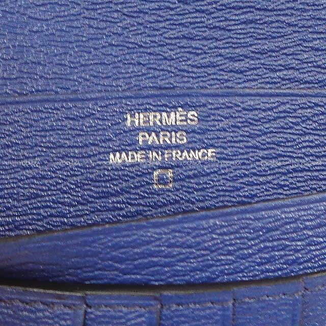 HERMES エルメス 財布 ベアン コンパクト ブルーマリンXブルーブライトン クロコダイル