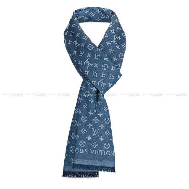 LOUIS VUITTON ルイ・ヴィトン ストール モノグラム エッセンシャル 青(ブルー) コットン100% M71618 新品未使用