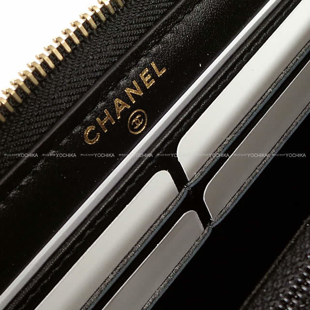 CHANEL シャネル ドーヴィル ラウンド 長財布 黒(ブラック)Xグレー キャンバス ゴールド金具 A81977 新品
