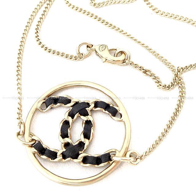 CHANEL シャネル ビッグ ココマーク サークル チェーン ネックレス 黒(ブラック)Xゴールド AB0558 新品