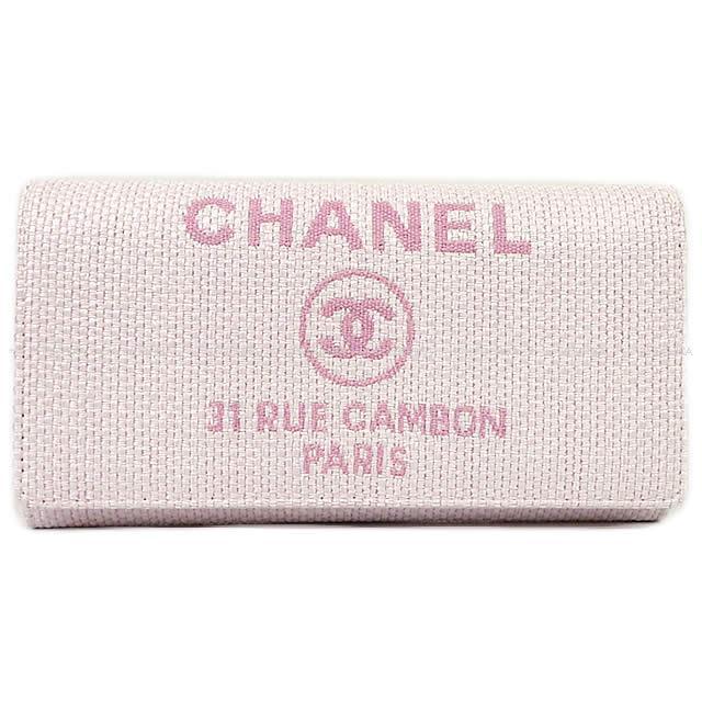 CHANEL シャネル ドーヴィル ファスナー付フラップ 長財布 ローズクレール ナイロンキャンバス A80053 新品未使用