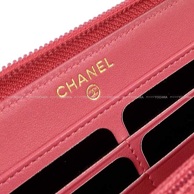 CHANEL シャネル ココマーク ラウンドファスナー長財布 コーラルピンク グレインドカーフスキン A50071 新品