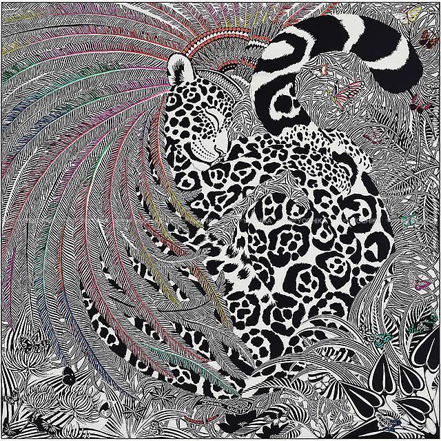 """HERMES エルメス ショール カレ140 コロリアージュ 刺繍 """"ジャガー=ケツァール"""" 黒(ブラック)Xマルチカラー"""