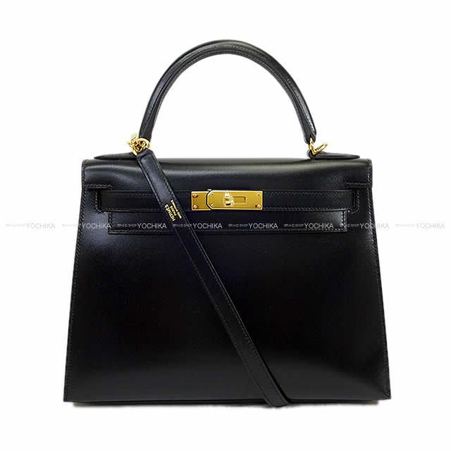 HERMES エルメス ハンドバッグ ケリー28 外縫い 黒(ブラック) ボックスカーフ ゴールド金具 新品
