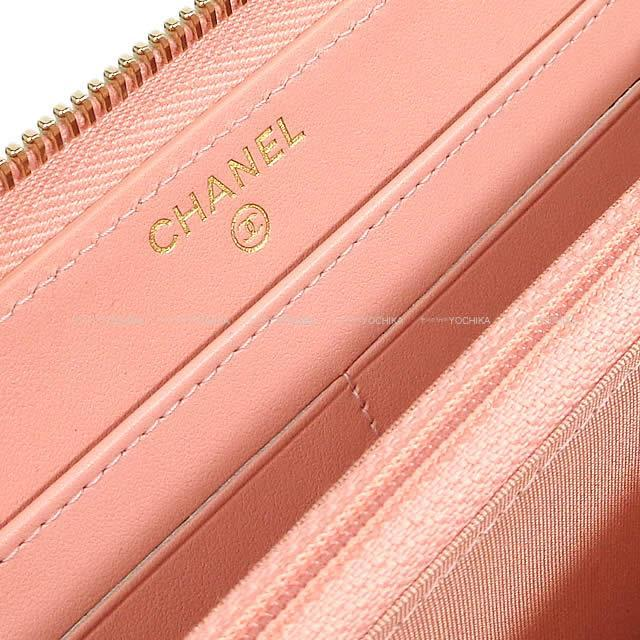 CHANEL シャネル ビッグココマーク フレーム ラウンドファスナー 長財布 サーモンベビーピンク A84449 新品