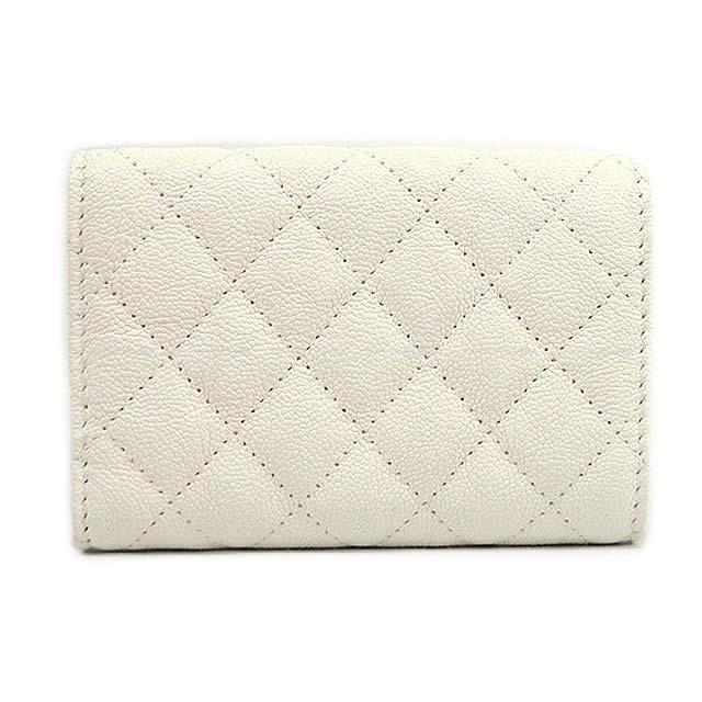 CHANEL シャネル ボーイシャネル 三つ折 コンパクト財布 白(ホワイト) グレインドカーフ A84432 新品