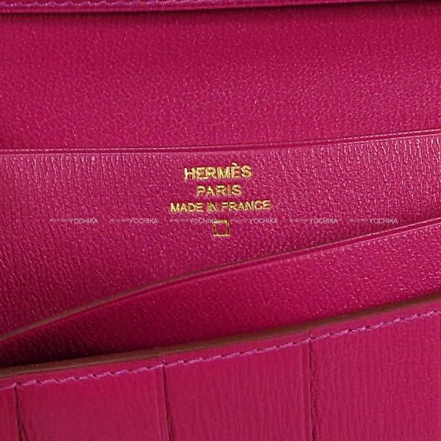 HERMES エルメス 長財布 ベアンスフレ ローズシェヘラザード クロコダイル アリゲーター シャイニー ゴールド金具 新品