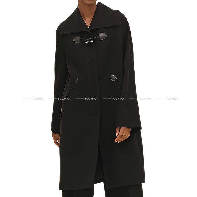HERMES エルメス レディース  ダッフル ローブ コート 黒 #34 ウール100% 新品