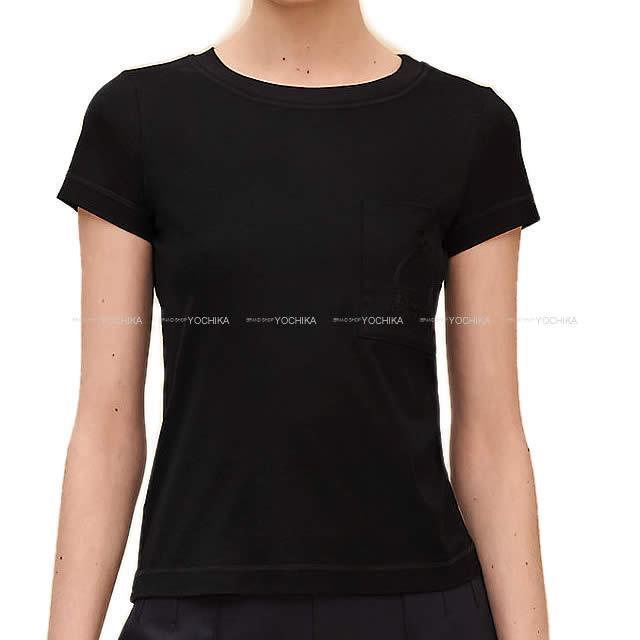 2019年春夏 新作 エルメス レディース Tシャツ ポケット付 刺繍 #36 黒 (ブラック) コットン100% 新品