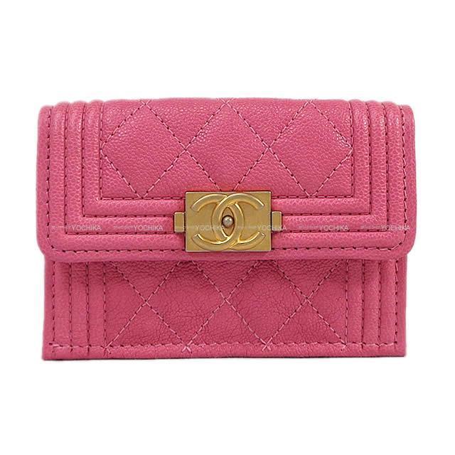 CHANEL シャネル ボーイシャネル 三つ折 コンパクト財布 ピンク グレインドカーフ