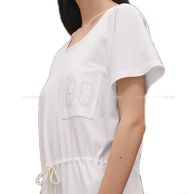 2019年春夏 新作 HERMES エルメス Tシャツ ワンピース ポケット付 刺繍 #38 白 新品