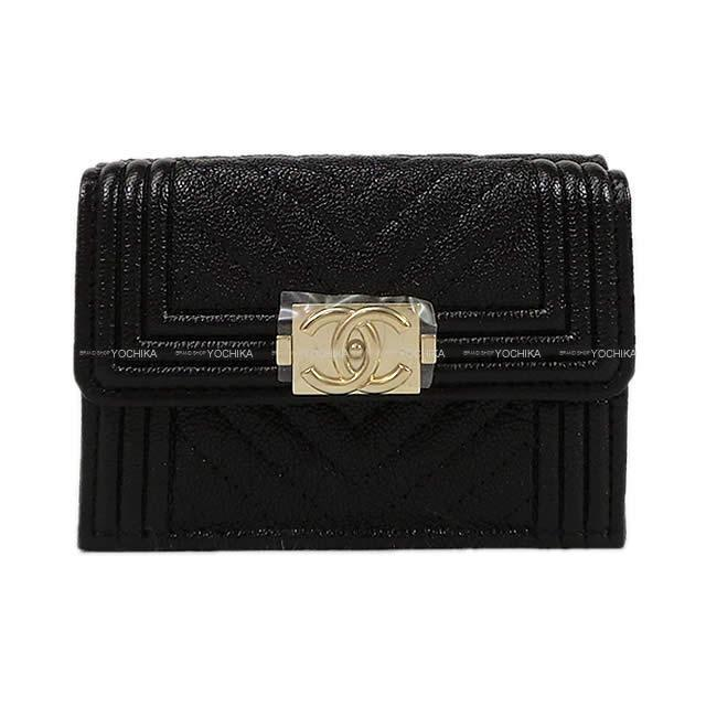 CHANEL シャネル ボーイシャネル シェヴロン 三つ折 コンパクト財布 黒(ブラック)  A84432 新品