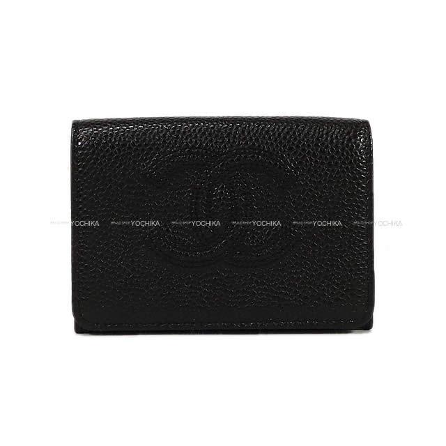 CHANEL シャネル ココマーク ダブルステッチ コンパクト 三つ折り 財布 黒 グレインド カーフ A70796 新品