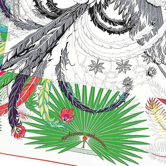 "HERMES エルメス スカーフ カレ90 ""不死鳥の神話"" 白(ホワイト)"