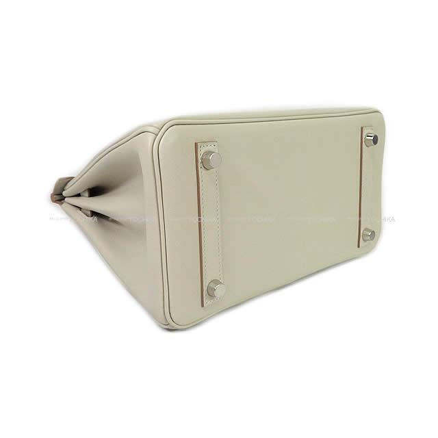 HERMES エルメス ハンドバッグ バーキン25 グリスパール(パールグレー) トゴ シルバー金具 新品