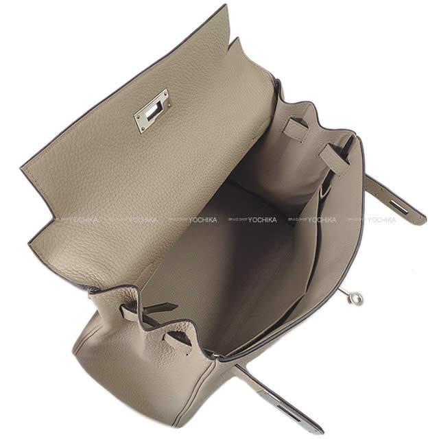 HERMES エルメス ハンドバッグ ケリー28 内縫い トゥルティールグレー トゴ シルバー金具 新品同様【中古】