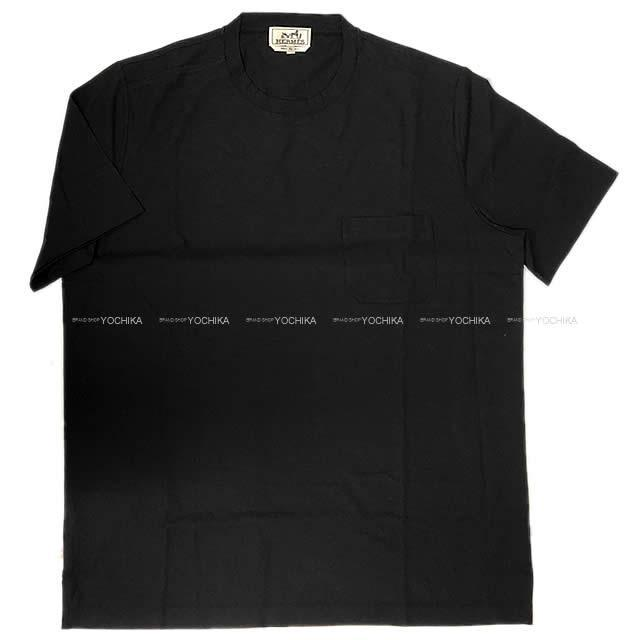 HERMES エルメス メンズ Tシャツ ポケット付 半袖 #XL 黒(ブラック) コットン100% 新品