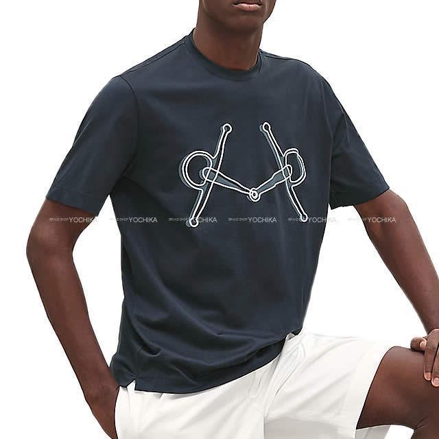 """HERMES エルメス メンズ Tシャツ """"プラス・モール"""" プリント コットンジャージー 半袖 #M"""