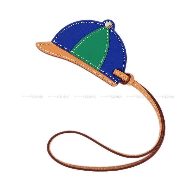 "HERMES エルメス バッグチャーム 帽子型 ""パドック ボンベイ"" テリキュートXブルーエレクトリックXヴェールヴェルティゴ"