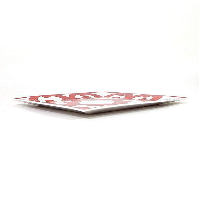 "HERMES エルメス 正方形プレート皿 プチカレNo3 ""ガダルキヴィール"" ルージュX白 陶器 新品"
