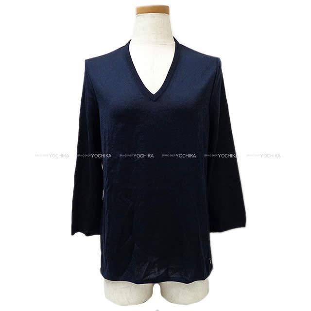 HERMES エルメス セリエ チャーム Vネック ニット セーター 9分袖  #38 マリン 新品
