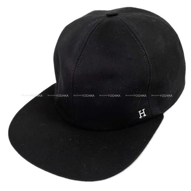 "HERMES エルメス メンズ キャップ 帽子 刺繍入り ""テキサス ドリーム"" #M 黒(ブラック) 新品"