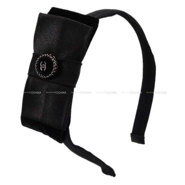 CHANEL シャネル リボン カチューシャ ヘアアクセサリー 黒 シルク/レーヨン A53773 新品