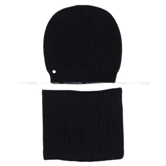HERMES エルメス メンズ ニット帽 キャップ 帽子 ネックウォーマー #M 黒(ブラック)