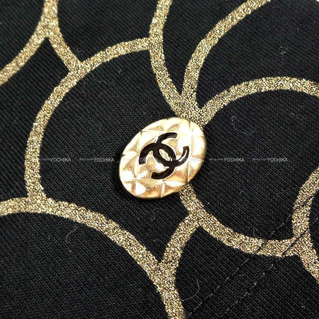 CHANEL シャネル レディース カメリア 半袖Tシャツ ポーチ付  黒(ブラック)/ゴールド コットン #36 新品未使用