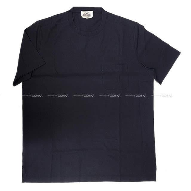 HERMES エルメス メンズ Tシャツ ポケット付 半袖 #L マリン コットン100% 新品