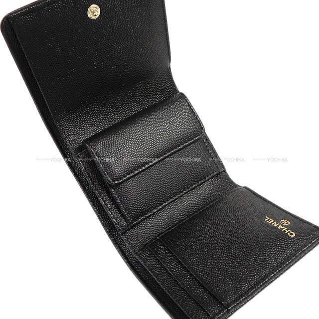 2019年 新作 CHANEL シャネル マトラッセ コインケース付 三つ折り コンパクト財布 黒(ブラック) 新品