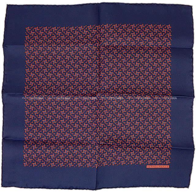 HERMES エルメス ポケットチーフ カレ45 スカーフ マリンXオレンジ シルク100% 新品未使用