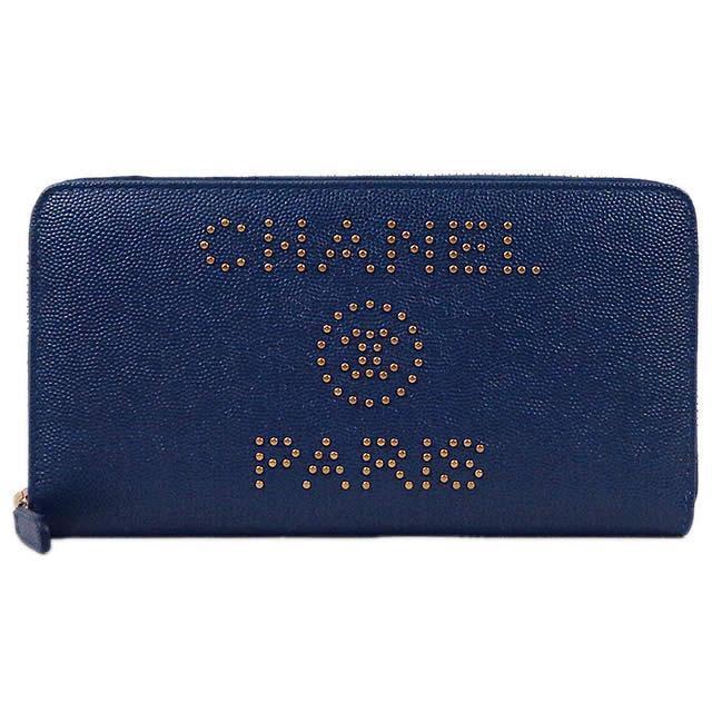 2019年 新作 CHANEL シャネル ドーヴィル スタッズロゴ ラウンド ファスナー 長財布 A80056 新品