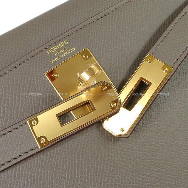 HERMES エルメス ハンドバッグ ケリー28 外縫い エタン エプソン ゴールド金具 新品
