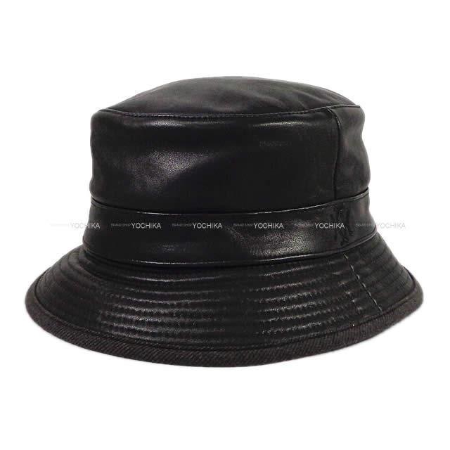 HERMES エルメス レディース モッチプール レザー ハット 帽子 #59 黒(ブラック) カーフ 新品未使用