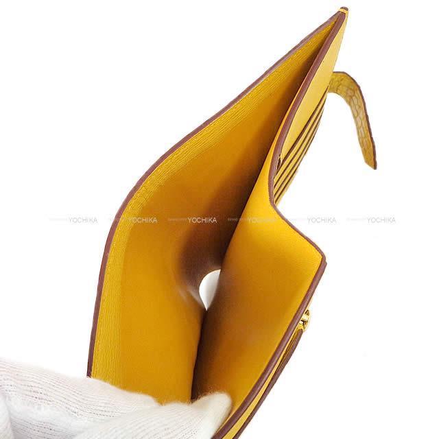 HERMES エルメス 財布 ベアンコンパクト ジョーヌアンブル クロコダイル アリゲーターマット ゴールド金具 新品