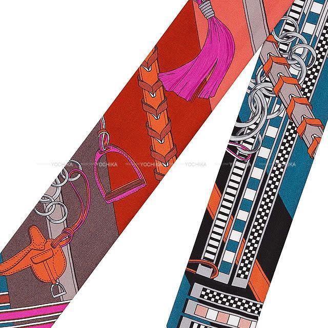 """HERMES エルメス ツイリー スカーフ """"馬勒とチャーム'' マロン/ブルー/オレンジ シルク100% 新品未使用"""