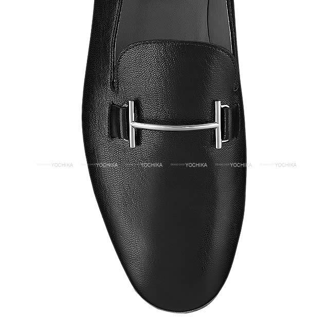 HERMES エルメス メンズ モカシン ローファー 靴 ''サガ SAGA'' #42.5 黒(ブラック) シェーブル 新品