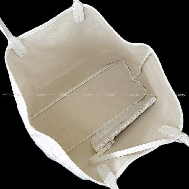 """GOYARD ゴヤール トートバッグ """"サンルイ PM"""" 白 (ホワイト) PVCコーティングキャンバス/カーフ 新品未使用"""