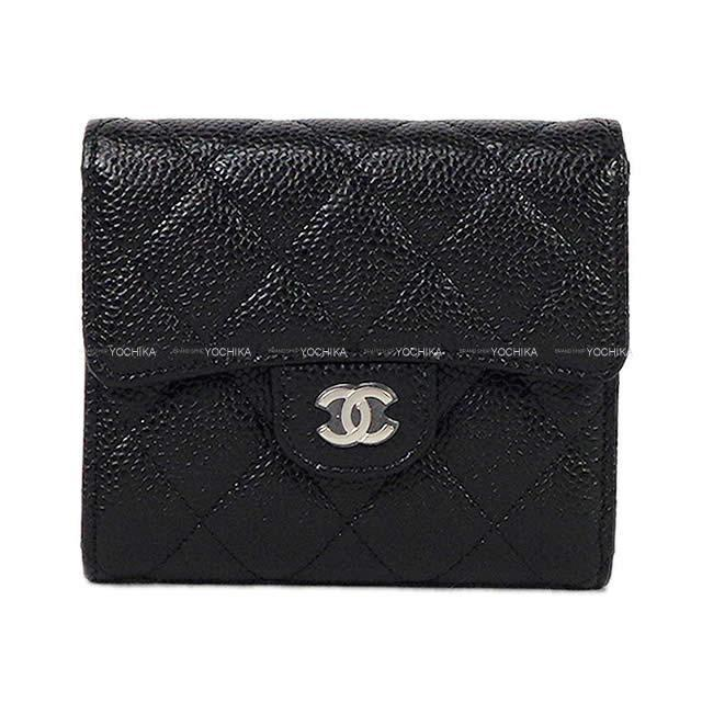 CHANEL シャネル クラシック マトラッセ  コインケース付 三つ折 コンパクト財布 黒(ブラック) AP0231 新品