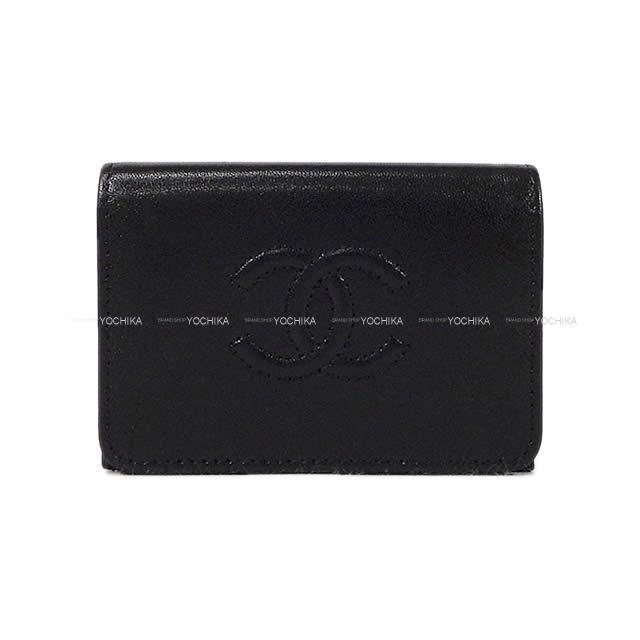 CHANEL シャネル ココマーク コンパクト 三つ折り 財布 黒 A70796 新品