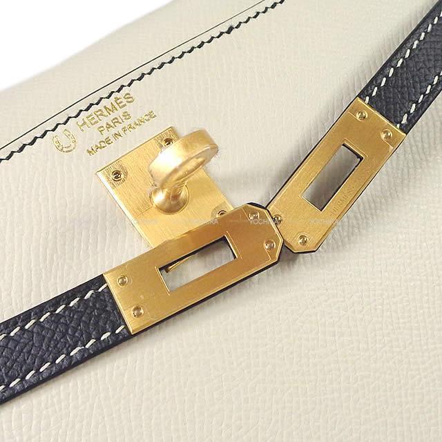 HERMES エルメス ハンドバッグ ケリー25 外縫い スペシャルオーダー クレ/黒 エプソン マットゴールド金具 新品