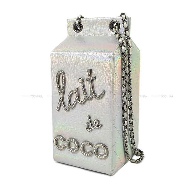 """シャネル チェーンショルダーバッグ ミルク ボックス """"LAIT DE COCO"""" シルバー A94304  新品同様【中古】"""